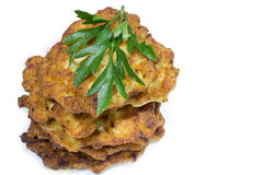 Fried chicken chops. On white background royalty free stock photography