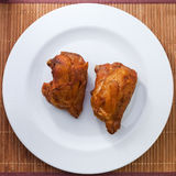 Fried chicken. Close up fried chicken on wood Royalty Free Stock Image