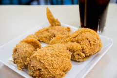 Fried chicken with cola drink royalty free stock photo
