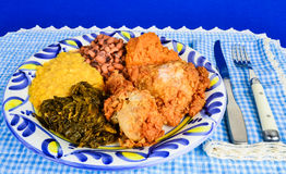 Fried Chicken and Collard Greens Stock Photos