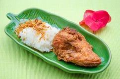 Fried Chicken con la cipolla ed il riso appiccicoso Immagini Stock Libere da Diritti