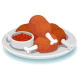 Fried Chicken con la immersione della salsa Immagine Stock