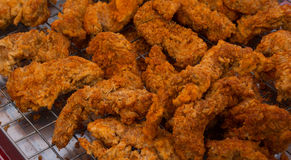 Fried chicken. Deep fried chicken with chili on tray Stock Images