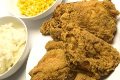 Fried chicken dinner Stock Photos