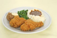 Fried Chicken Dinner. A meal featuring fried chicken royalty free stock photography
