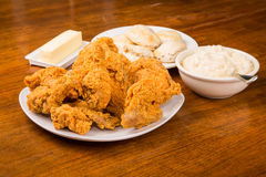 Fried Chicken Dinner Stock Photo