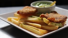 Fried Chicken Dish and Chips stock video footage