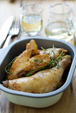 Fried chicken in dish and wine Royalty Free Stock Photo