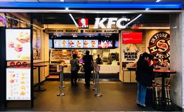 Fried Chicken. Don Mueang International Airport, Bangkok, Thailand - May 8,2018 : Kentucky Fried Chicken (KFC) restaurant, fast food. KFC is a fast food Royalty Free Stock Photography