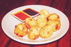 Fried chicken dumplings - vintage effect. Royalty Free Stock Photos