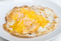 Fried chicken egg on dish Stock Images
