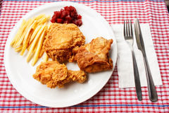 Fried chicken. Fast food and french fried Stock Images