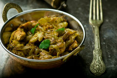 Fried chicken fillet in the Indian copper bowl Royalty Free Stock Photography