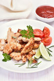 Fried chicken fillet and vegetable salad Stock Photos
