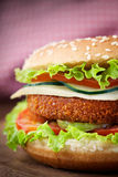 Fried chicken or fish burger sandwich. Junk food concept. Deep fried chicken or fish burger sandwich with lettuce, tomato, cheese and cucumber on wooden Royalty Free Stock Photo