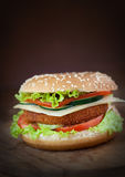 Fried chicken or fish burger sandwich. Junk food concept. Deep fried chicken or fish burger sandwich with lettuce, tomato, cheese and cucumber on wooden Royalty Free Stock Photos