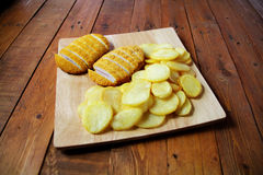 Fried chicken food. With potatoes Stock Images