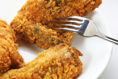 Fried Chicken with Fork royalty free stock photography