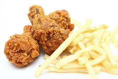 Fried chicken with french fries Royalty Free Stock Images