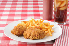 Fried chicken and french fries Royalty Free Stock Photography