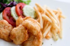 Fried chicken. With french fries Royalty Free Stock Photography