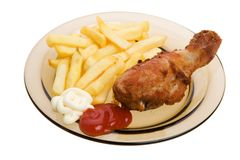 Fried chicken and french fries Royalty Free Stock Images