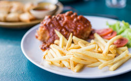 Fried chicken with french fries Royalty Free Stock Image