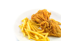 Fried chicken and french fries Stock Photos