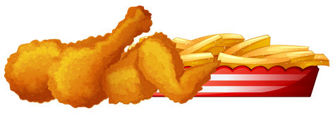 Fried chicken with frenchfries Stock Photo