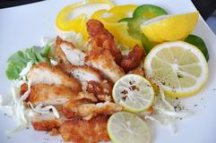 Fried Chicken with Fresh Lemon Dish. Pieces of fried chicken with fresh lemon on white dish stock photos