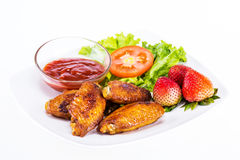 Fried chicken with fresh vegetable Stock Photos