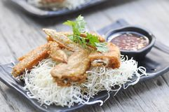 Fried chicken and fried noodle Royalty Free Stock Image