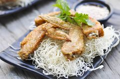 Fried chicken and fried noodle Royalty Free Stock Images