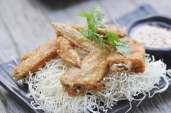 Fried chicken and fried noodle Stock Image