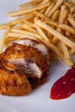Fried Chicken and fried potato with chilli sauce. Picture of Fried Chicken and fried potato with chilli sauce Stock Photos