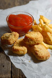 Fried chicken with fries Stock Photography
