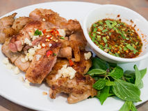 Fried chicken with garlic and chili Royalty Free Stock Image