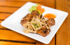 Fried Chicken and herb thai food Royalty Free Stock Photography