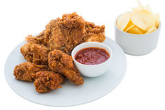 Fried chicken is isolated Royalty Free Stock Photography