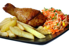 Fried chicken leg with french fries Royalty Free Stock Image
