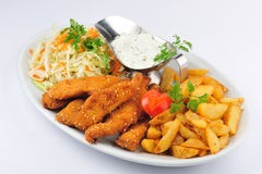 Fried chicken leg with fries  Stock Photos