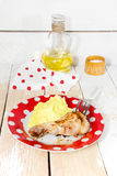 Fried chicken leg with mashed potatoes Stock Photo