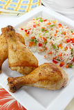 Fried chicken leg with rice Royalty Free Stock Image