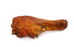 Fried chicken leg on white Royalty Free Stock Photography