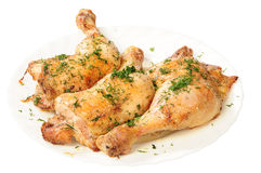 Fried chicken legs with dill Stock Photos