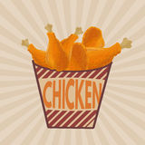 Fried chicken legs on striped box retro poster Stock Images