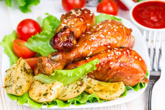 Fried chicken legs with teriyaki Royalty Free Stock Photography