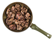 Fried chicken liver in frying pan isolated on white Royalty Free Stock Images