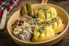 Fried chicken liver with onion served with mashed potatoes and p Stock Photography