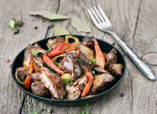 Fried chicken liver with vegetables Royalty Free Stock Photography